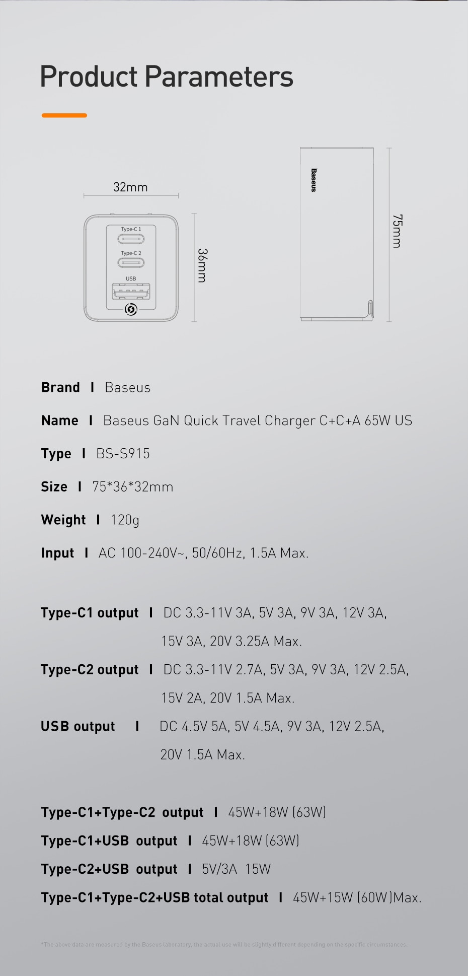 Baseus BS-S915 65W Fast GaN Charger US Plug USB PD Charger Support Quick Charge 4.0 SCP SuperCharge For iPhone 11 Pro XR Xiaomi HUAWEI