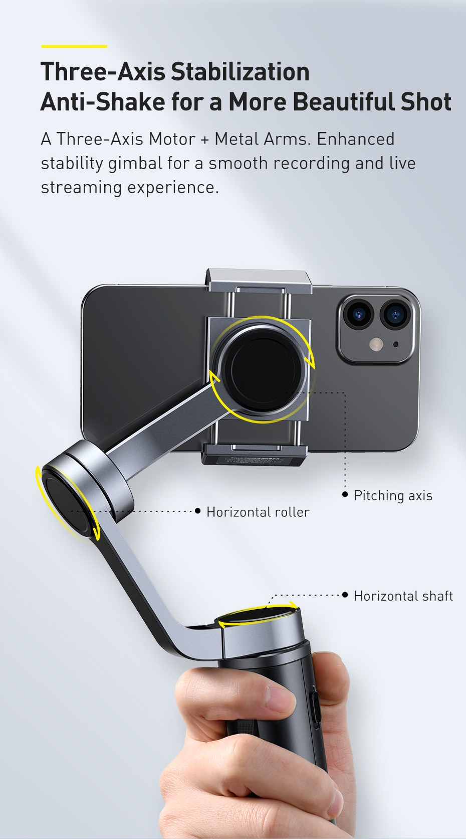 Baseus Foldable Metal Smartphone Handheld Gimbal Stabilizer 3-Axis Pocket Sized Phone Gimbals for IOS/Android Mobile Camera