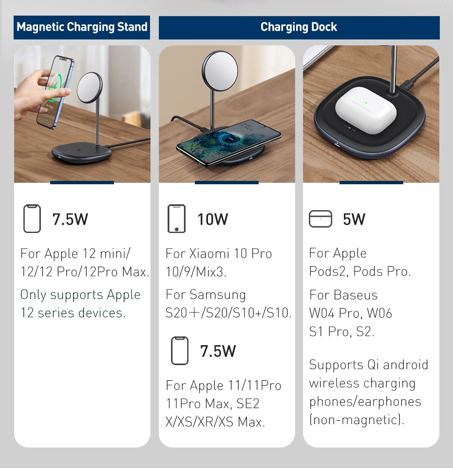 Baseus 2 in 1 Wireless Charger for iPhone 12 Pro Induction Fast Magnetic Wireless Charging Pad for Samsung Xiaomi